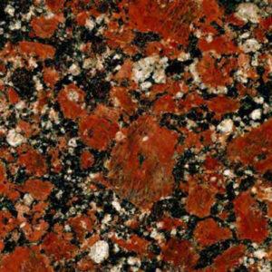 Текстура червоно-чорного Капустинського граніту Rosso Santiago