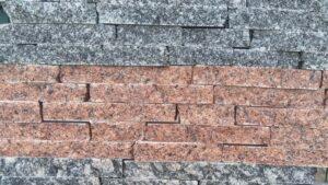Колота червона плитка з граніту Лезніки в поєднанні з сірим гранітом