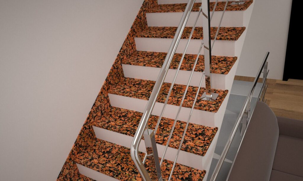 Лестница из Емельяновского гранита с металлическими перилами