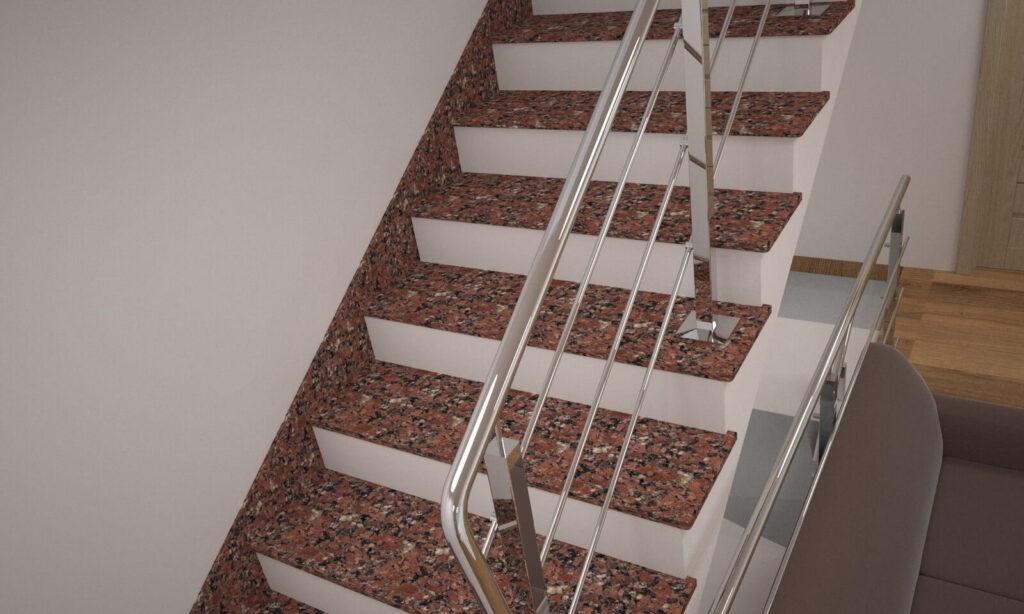 Лестница из Капустинского гранита с металлическими перилами