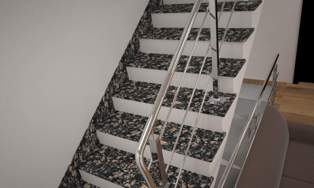 Лестница из Корнинского гранита с металлическими перилами