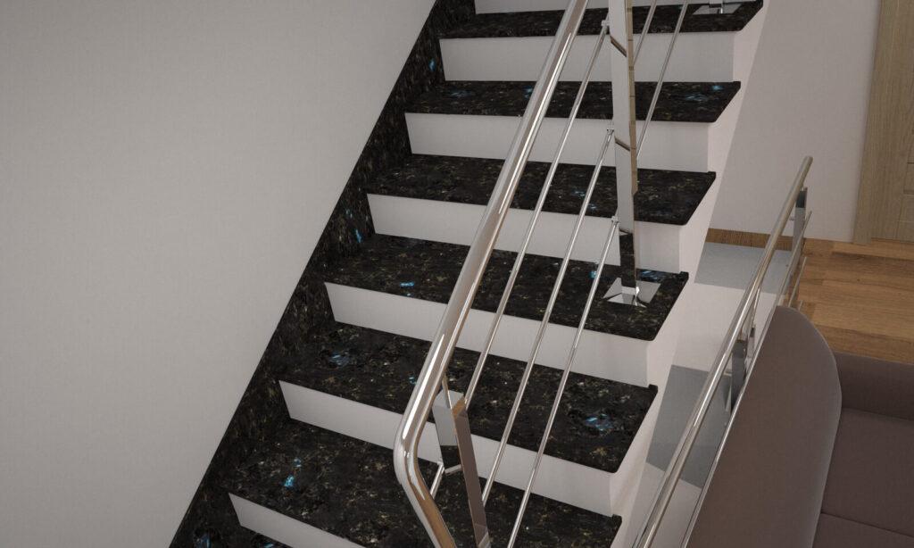 Лестница из лабрадорита Irina Blue с металлическими перилами