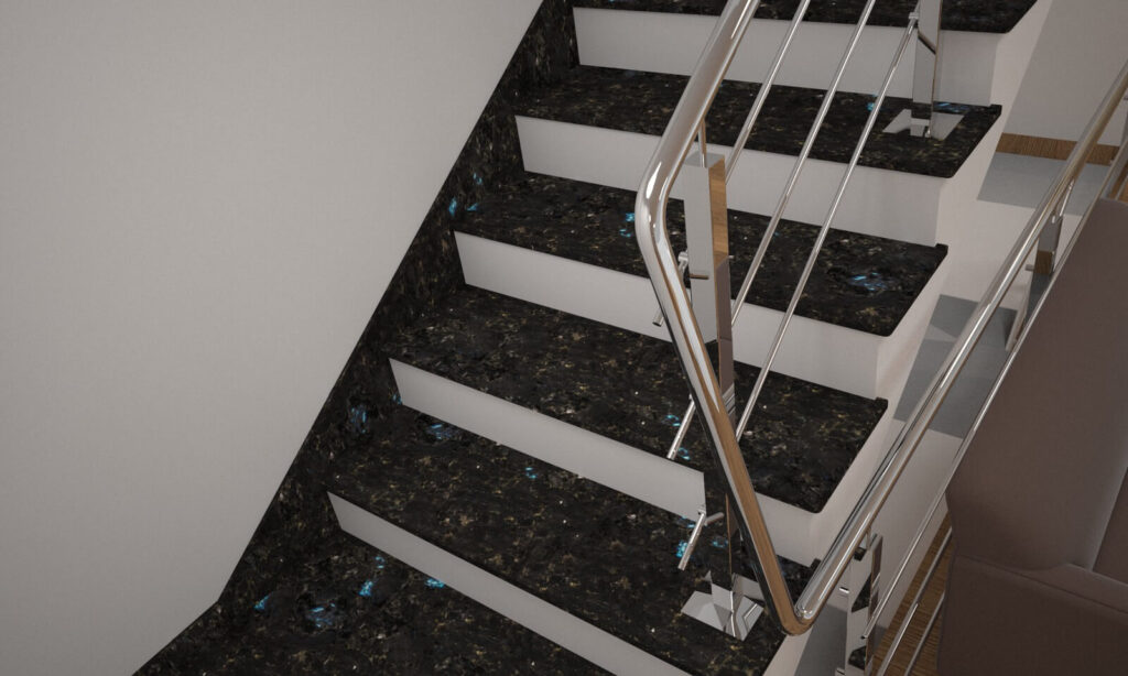 Плинтус для лестницы из лабрадорита Irina Blue