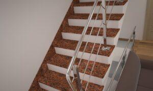 Лестница из Лезниковского гранита с металлическими перилами