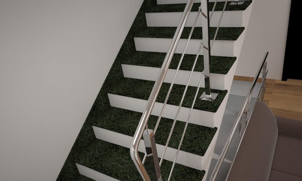 Лестница из Маславского гранита с металлическими перилами