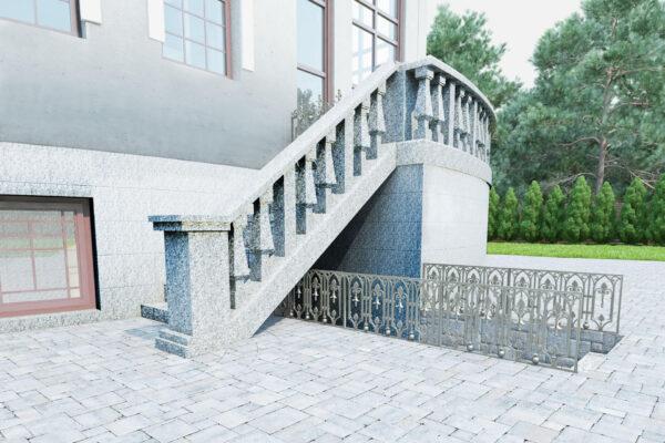 Візуалізація гранітних сходів з балясинами