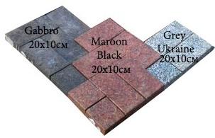 бруківка гранітна пиляна Gabbro Maroon Black Grey Ukraine