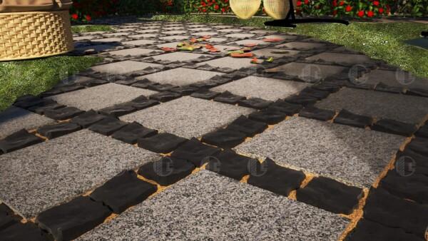 Брусчатка из базальта 10х10х5 см и плиты из Покостовского гранита 30х30 см