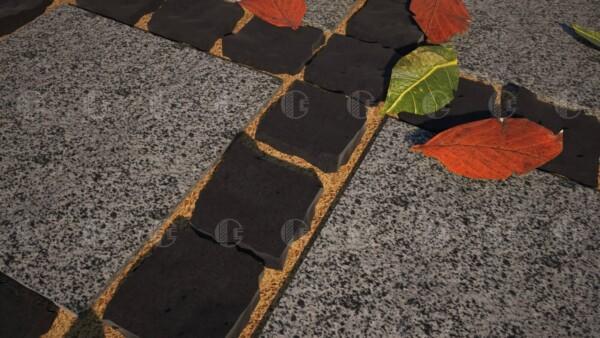 Брусчатка из базальта 10х10 и плиты из Покостовского гранита 30х30 см