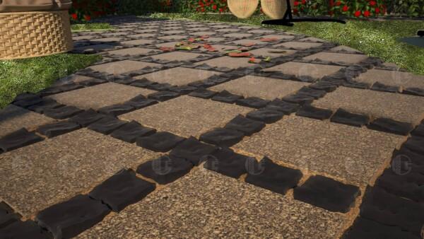 Брусчатка базальтовая 10х10 и плиты из Софиевского гранита 30х30 см