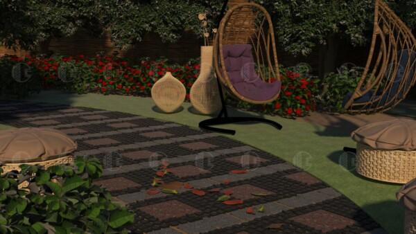 Брусчатка из габбро (5х5х5 см) и плиты Капустинского (30х30 см) и Покостовского (20х20 см) гранитов