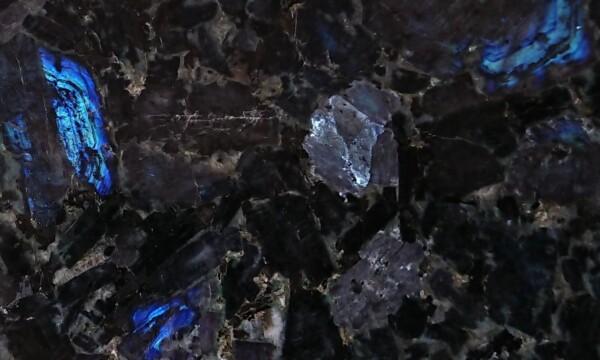Текстура украинского лабрадорита Irina Blue