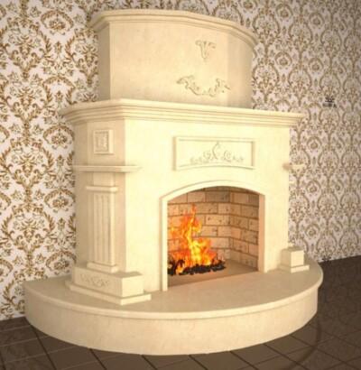 Визуализация камина Барокко из мрамора Crema Nova