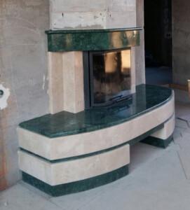 Камин из зелёного мрамора Verde Guatemala и бежевого Lotus Beige