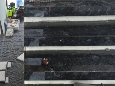 Установка лестницы из лабрадорита Volga Blue