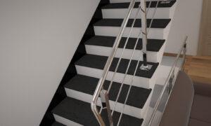 Лестница из базальта с металлическими перилами