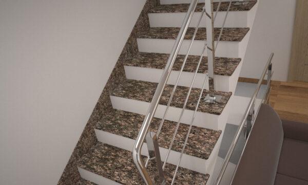 Сходи з Дідковицького граніту з металевими поручнями