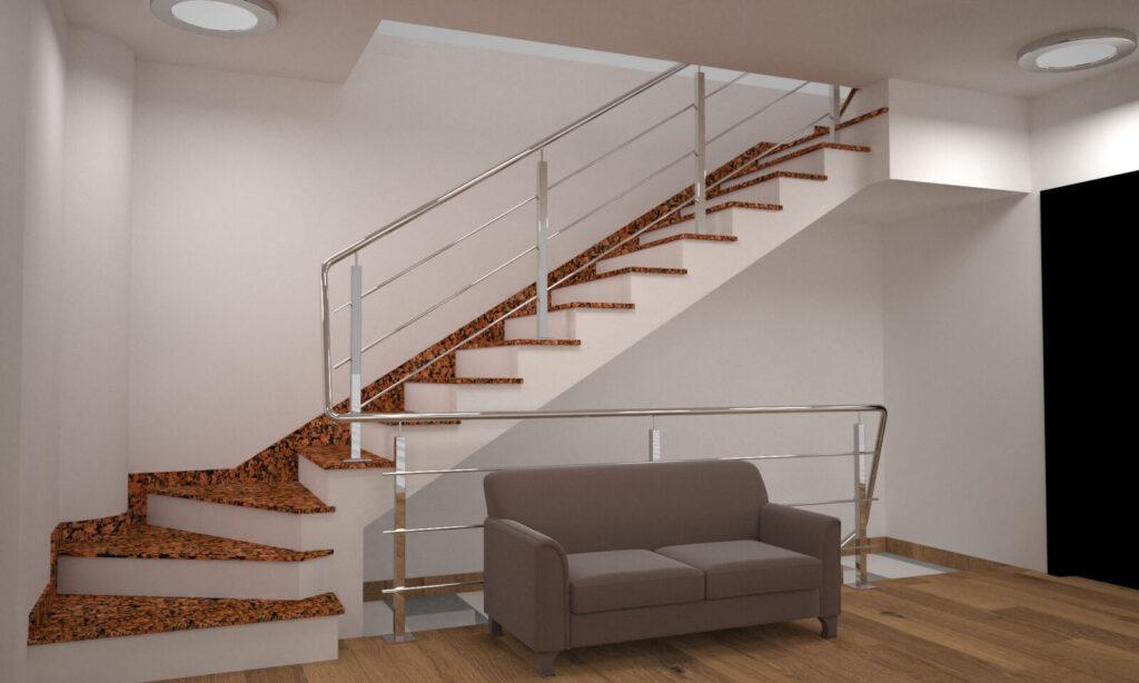 Лестница из Емельяновского гранита