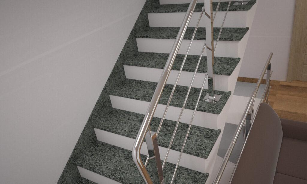 Лестница из Гацковского гранита с металлическими перилами