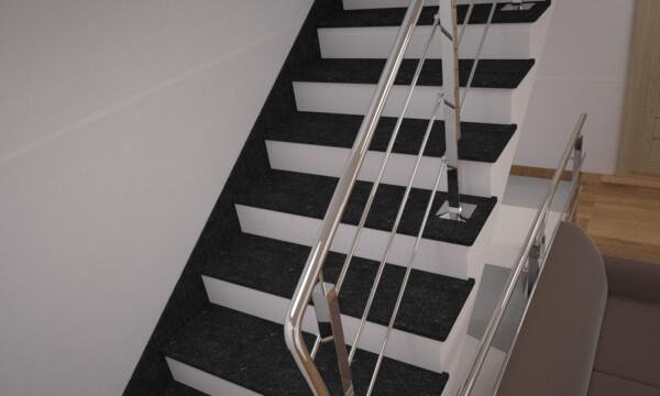 Лестница из камня габбро с металлическими перилами