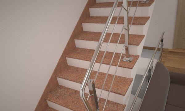 Лестница из Кишинского гранита с металлическими перилами