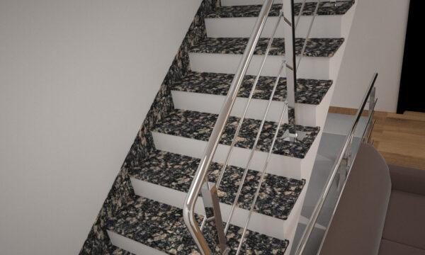 Сходи з Корнинського граніту з металевими поручнями