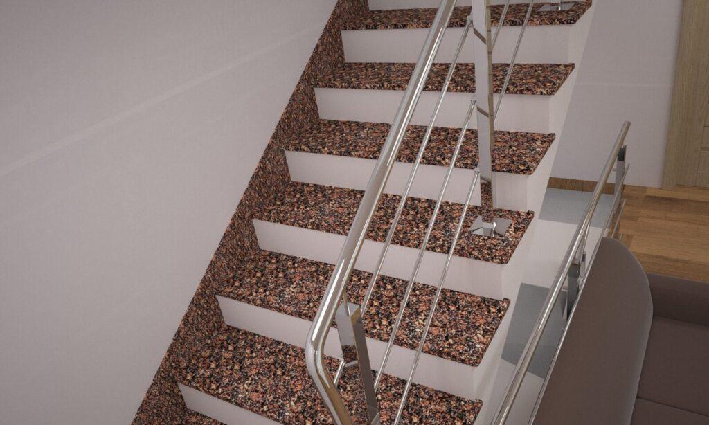 Лестница из Крупского гранита с металлическими перилами