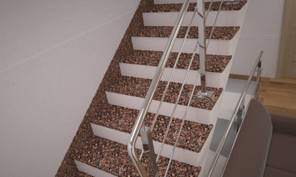 Сходи з Крупського граніту з металевими поручнями