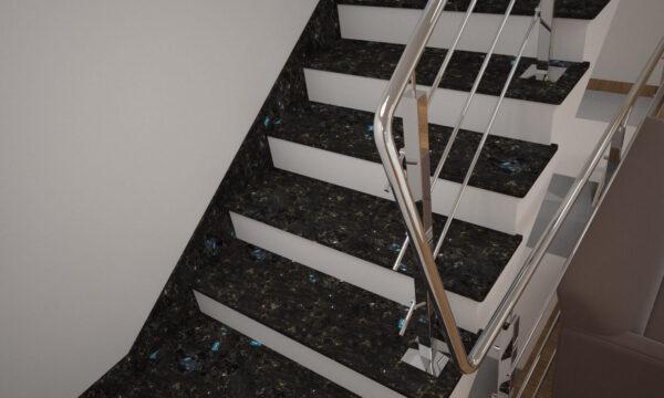 Плінтус для сходів з лабрадориту Irina Blue