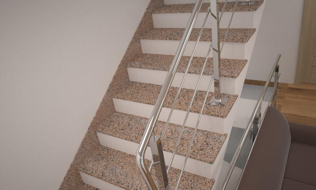 Лестница из Межиричского гранита с металлическими перилами