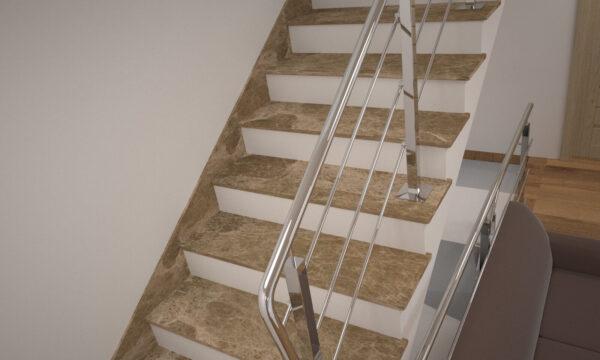Лестница из турецкого мрамора Emperador Light с металлическими перилами