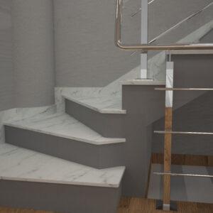 Сапожок для лестницы из мрамора Mugla White