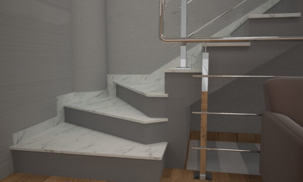 Чобіток для сходів з мармуру Mugla White
