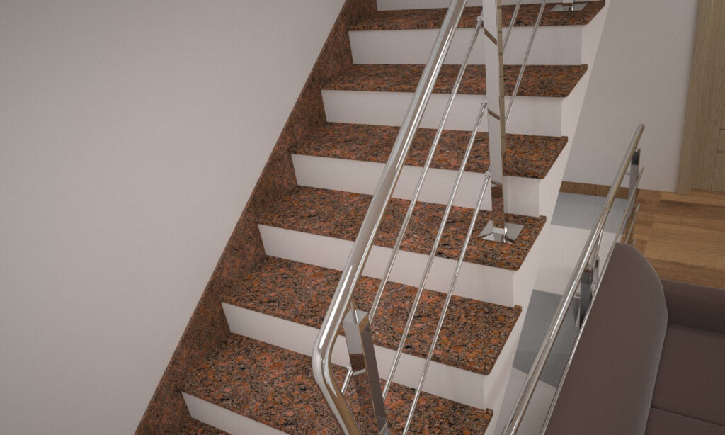 Лестница из Новоданиловского гранита с металлическими перилами