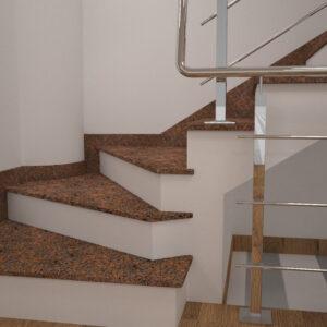 Сапожок для лестницы из Новоданиловского гранита