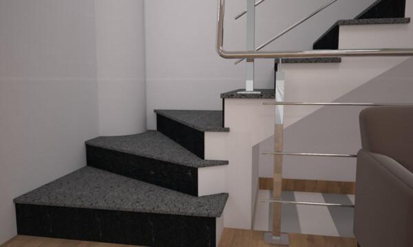 Лестница из Покостовского гранита и габбро без сапожка