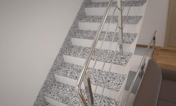 Сходи з Покостівського граніту з металевими поручнями