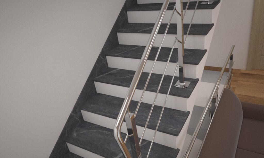 Лестница из Рахны-Полевского гранита с металлическими перилами