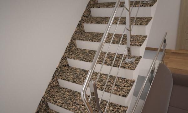 Лестница из Софиевского гранита с металлическими перилами