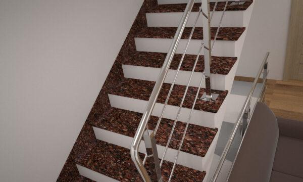 Лестница из Токовского гранита с металлическими перилами