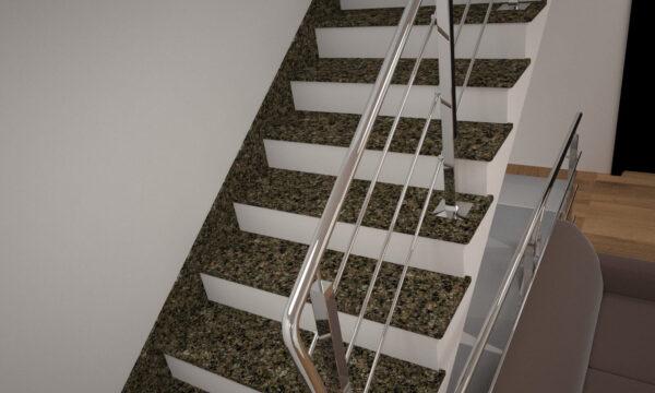 Лестница из Васильевского гранита с металлическими перилами