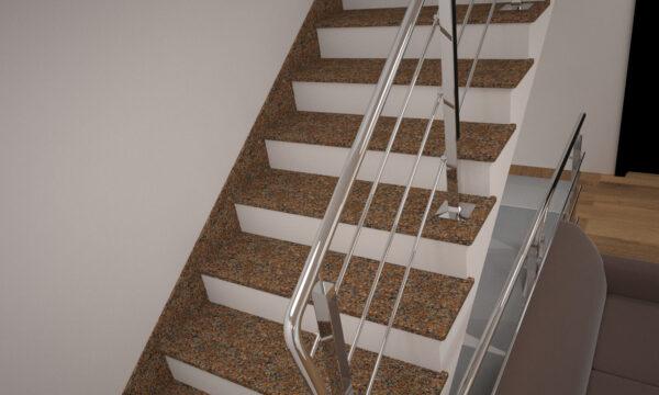 Лестница из Жадковского гранита с металлическими перилами