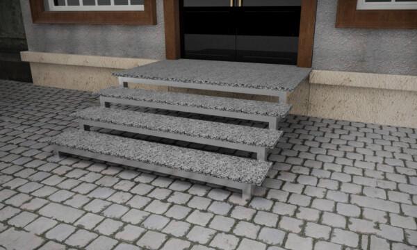 Гранитные термообработанные ступени из Покостовского камня толщиной 3 см