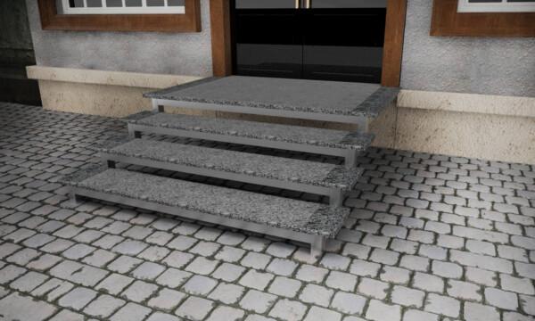 Гранитные термообработанные с полировкой по краям ступени из Покостовского камня толщиной 3 см