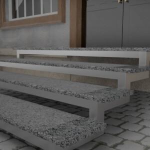 Термообработанные ступени с полировкой по краям из Покостовского гранита толщиной 3 см
