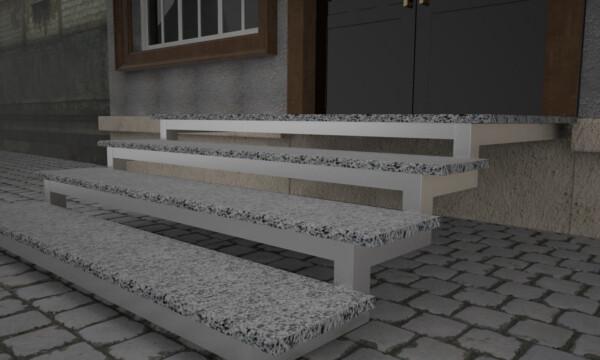 Термообработанные ступени из Покостовского гранита толщиной 3 см