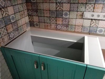 Замеры кухонной мебели перед установкой столешницы из лабрадорита (ящик)